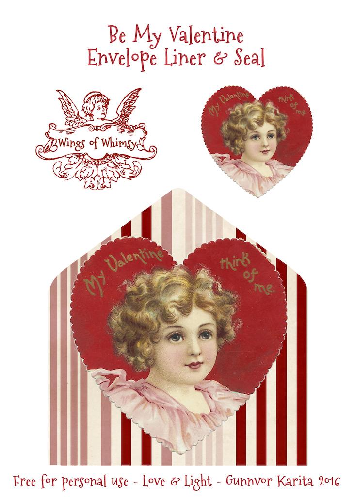 Wings of Whimsy: Think of Me Envelope Liner & Seal #freebie #vintage #valentine #printable #stripes #envelope #liner #cherub