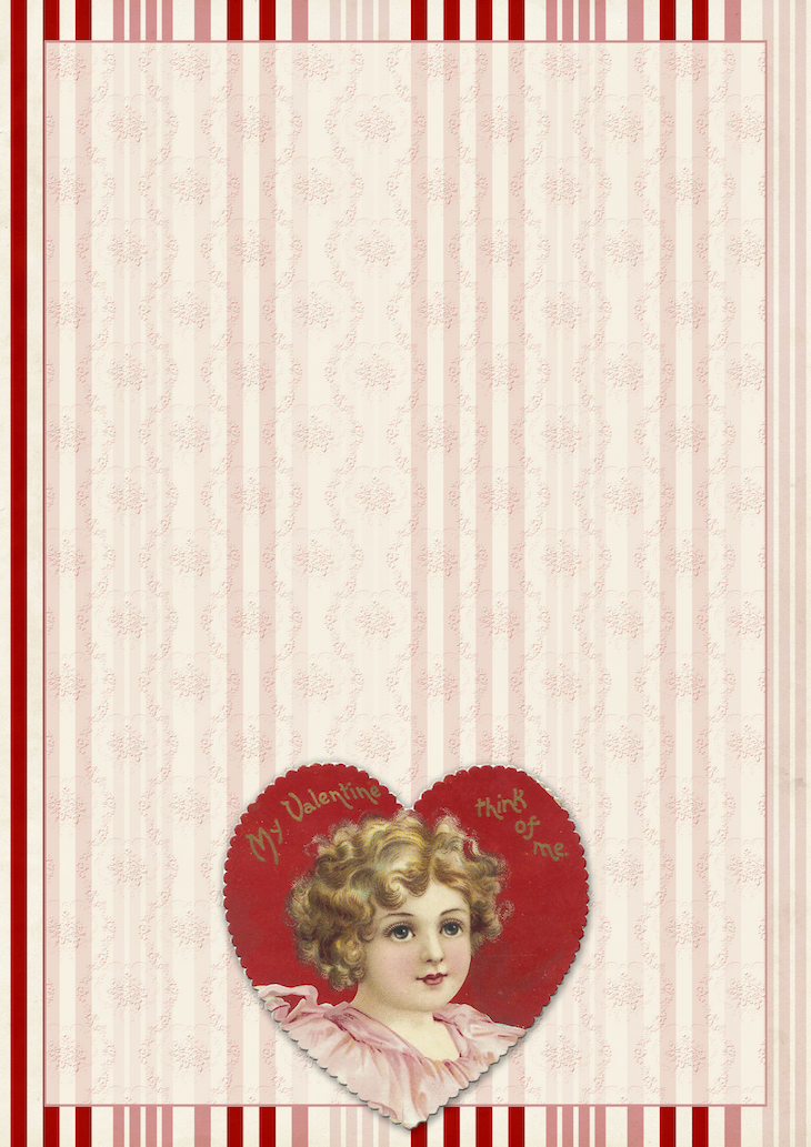 Wings of Whimsy: Think Of Me Paper #freebie #vintage #valentine #printable #stripes #paper #heart