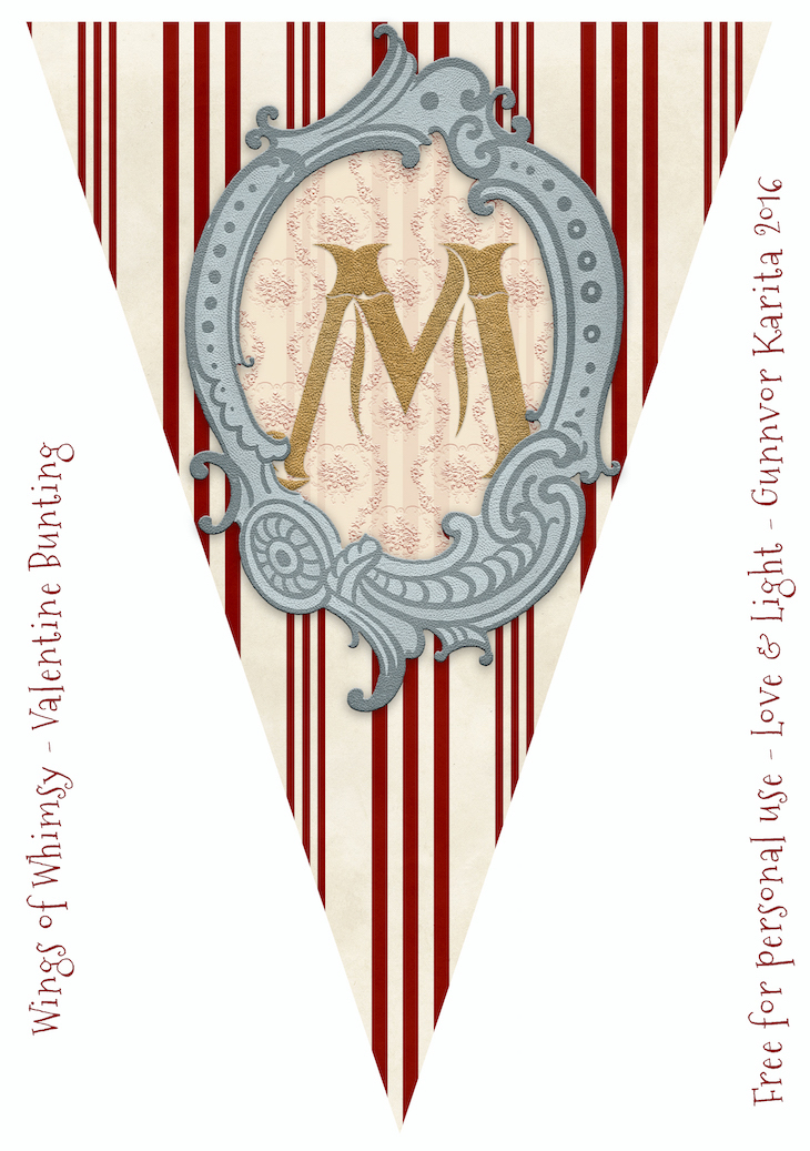 Wings of Whimsy: Be Mine Flag Bunting #freebie #vintage #valentine #printable #flag #bunting #stripes