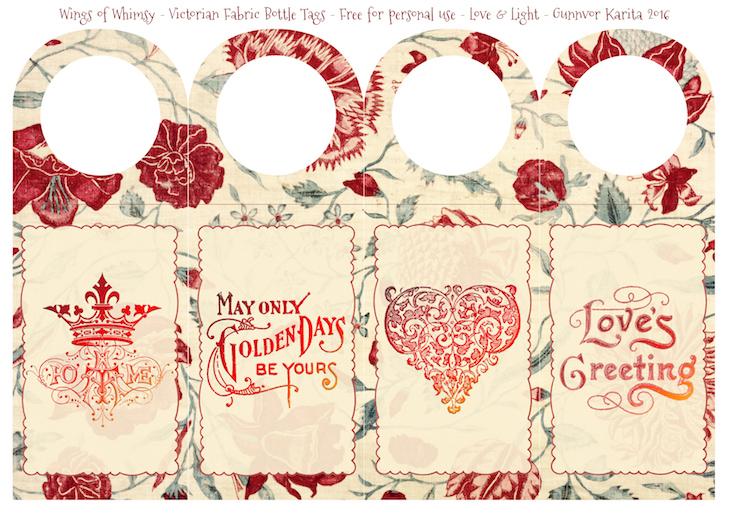 Wings of Whimsy: Victorian Fabric Bottle Tags #freebie #vintage #ephemera #printable #bottle #tag #valentine