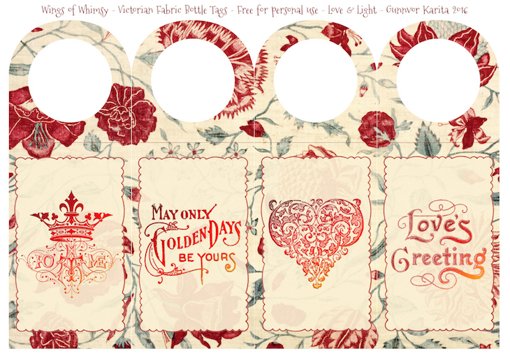 Wings of Whimsy: Victorian Fabric Bottle Tags #freebie #vintage #ephemera #printable #bottle #tag #valentine