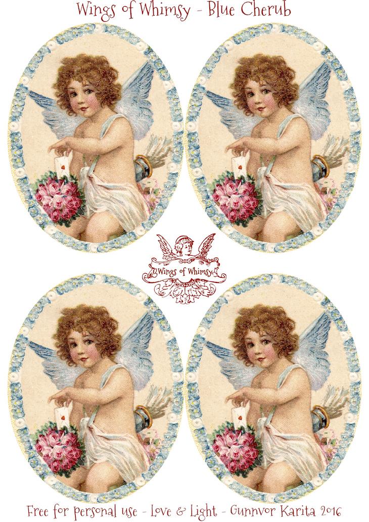Wings of Whimsy: Blue Cherub Tags #freebie #vintage #valentine #printable #tag #cherub