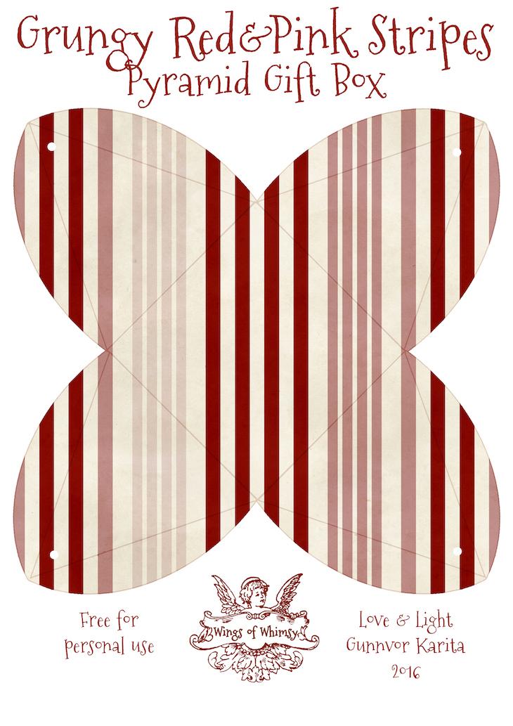 Wings of Whimsy: Valentine Stationery Pyramid Gift Box Match #freebie #vintage #printable #valentine #stationery #cherub #heart #stripes #love #romantic