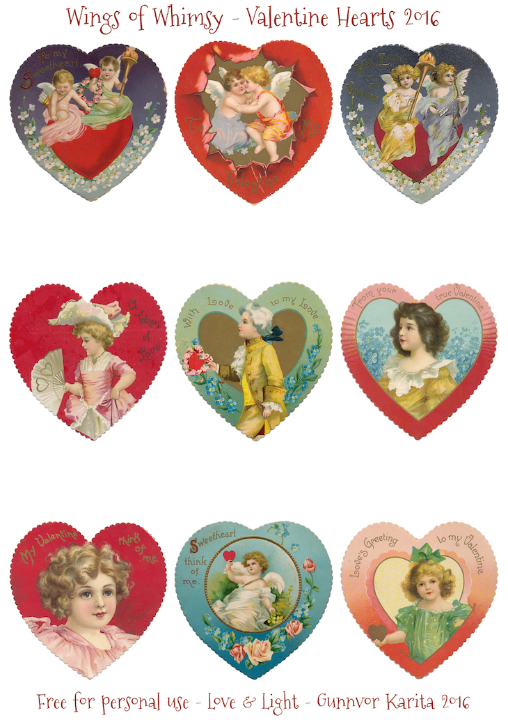 Wings of Whimsy: Vintage Valentine Hearts 2016 Edition #vintage #freebie #printable #collage #sheet #valentine #hearts