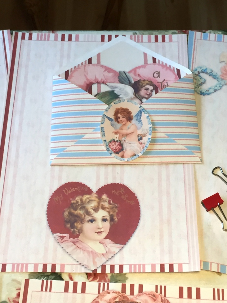 Wings of Whimsy: Valentine Stationery Mix & Match #freebie #vintage #printable #valentine #stationery #cherub #heart #stripes #love #romantic