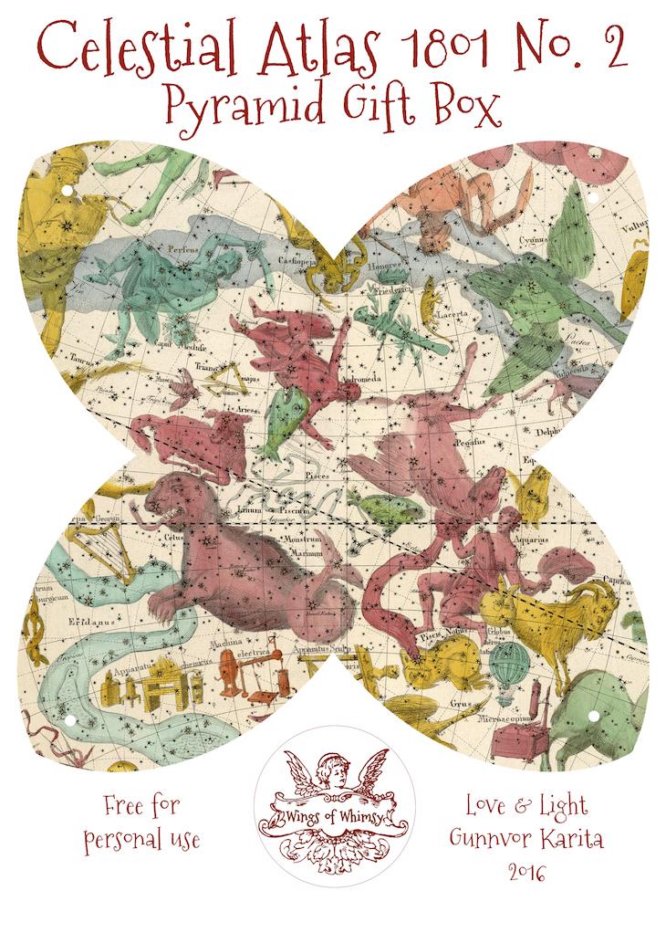 Wings of Whimsy: Celestial Atlas 1801 Pyramid Gift Box #antique #freebie #printable #pyramid #gift #box