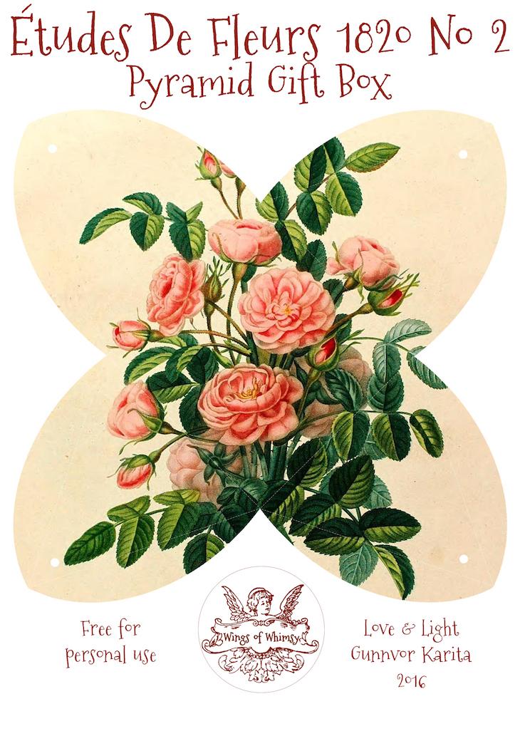Wings of Whimsy: Études des Fleurs No2 ca 1820 - Pyramid Gift Box #antique #freebie #printable #pyramid #gift #box