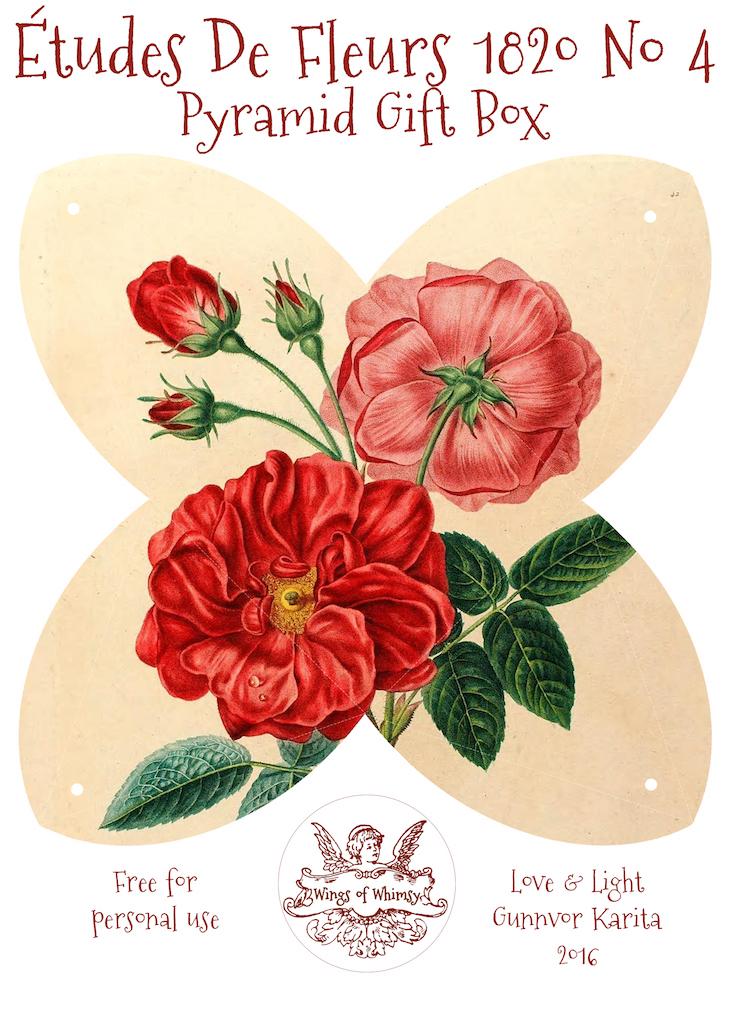 Wings of Whimsy: Études des Fleurs No4 ca 1820 - Pyramid Gift Box #antique #freebie #printable #pyramid #gift #box