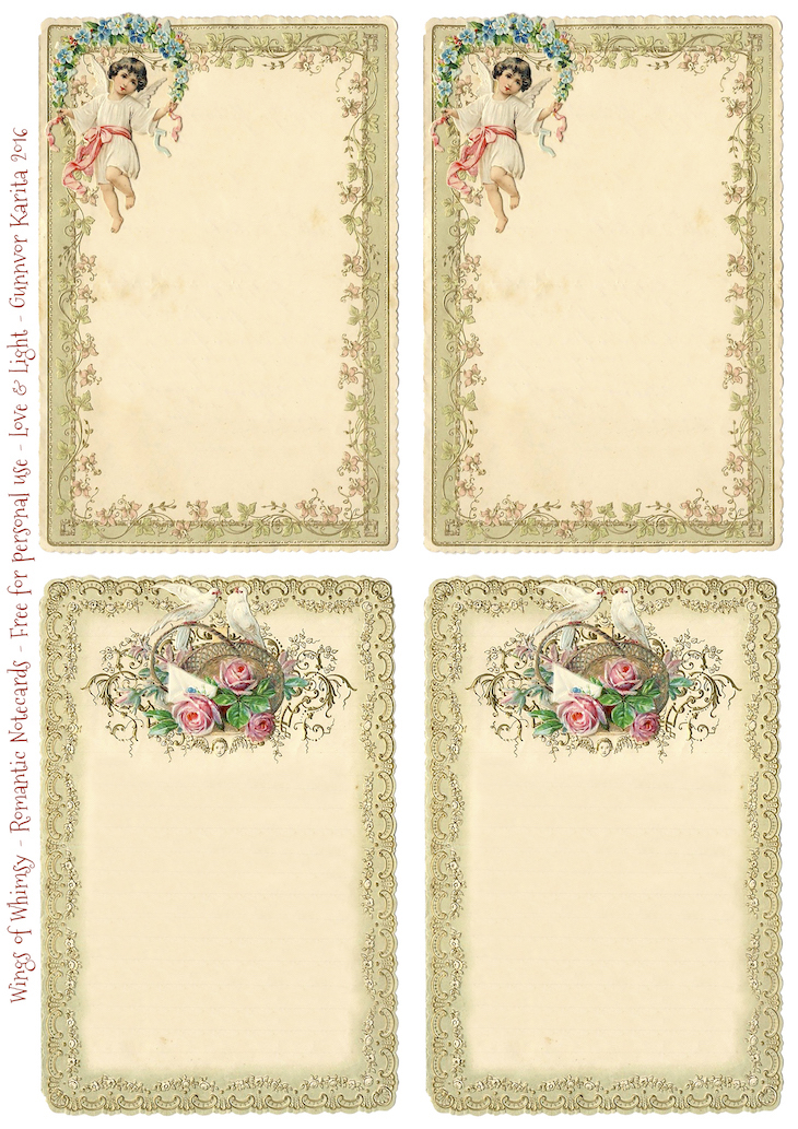 Wings of Whimsy: 1899 Romantic Notecards #victorian #freebie #printable #ephemera #stationery #romantic #notecard