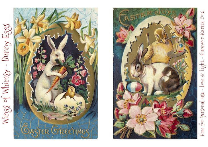 Wings of Whimsy: Bunny Eggs #freebie #vintage #ephemera #postcard #easter #bunny #egg