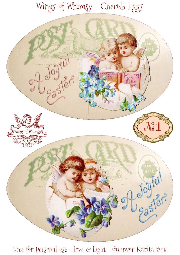 Wings of Whimsy: Cherub Eggs No1 #vintage #ephemera #freebie #printable #easter #cherubs #eggs