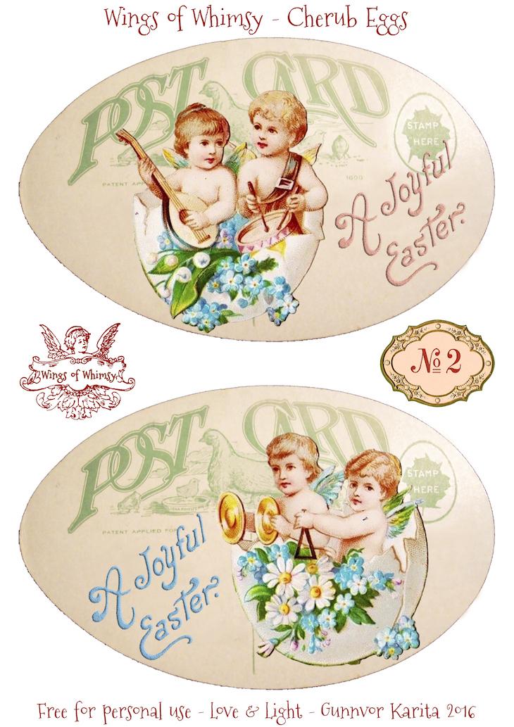 Wings of Whimsy: Cherub Eggs No2 #vintage #ephemera #freebie #printable #easter #cherubs #eggs