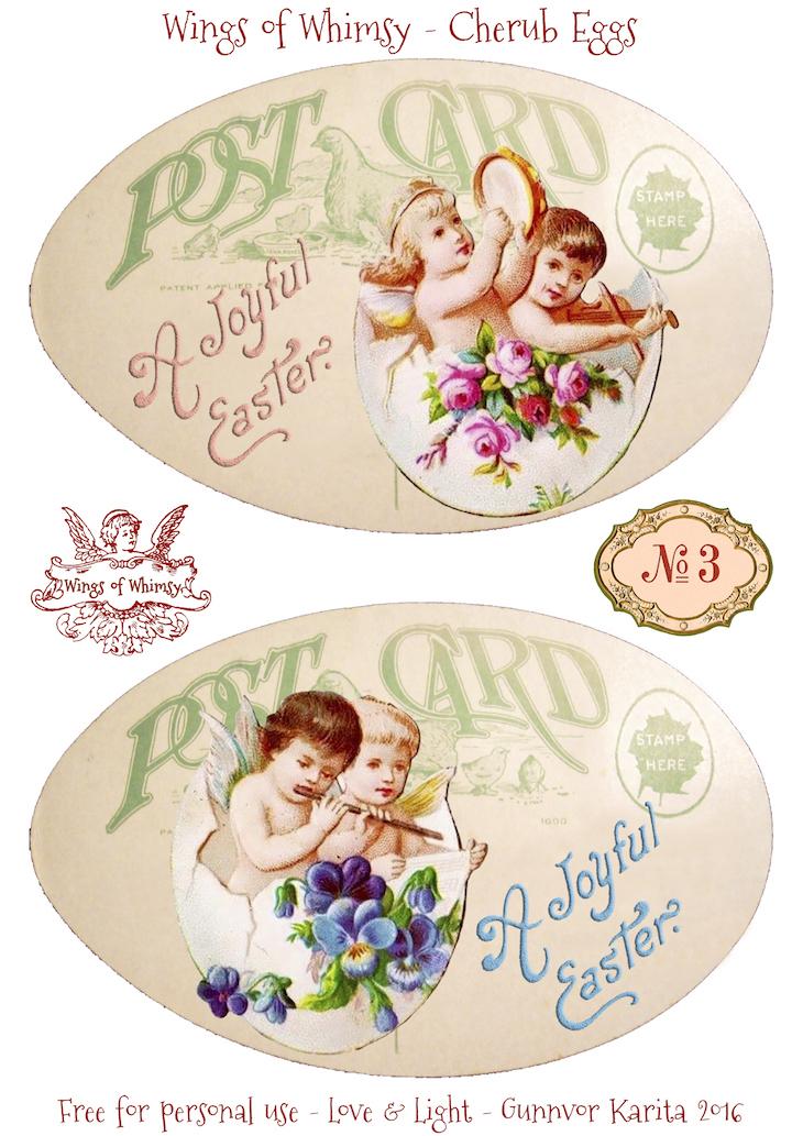 Wings of Whimsy: Cherub Eggs No3 #vintage #ephemera #freebie #printable #easter #cherubs #eggs