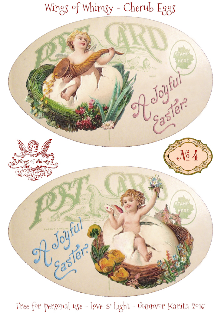 Wings of Whimsy: Cherub Eggs No4 #vintage #ephemera #freebie #printable #easter #cherubs #eggs