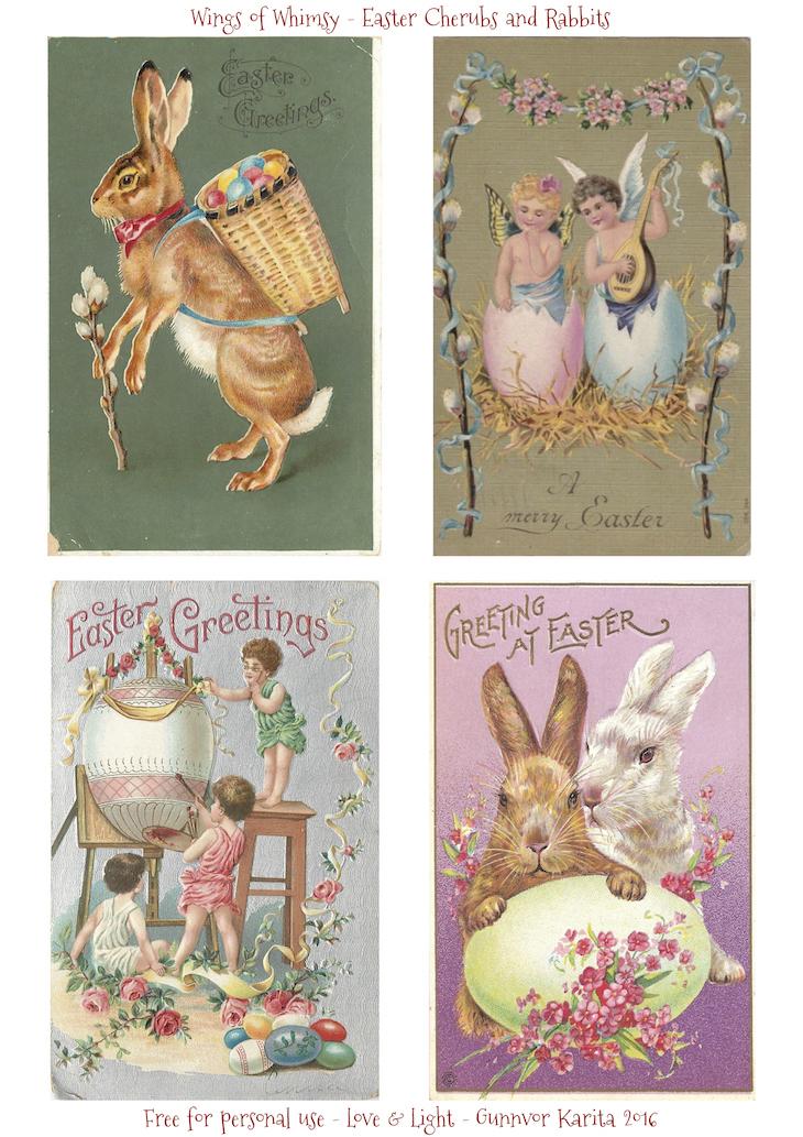 Wings of Whimsy: Easter Chicks #vintage #ephemera #freebie #printable #easter #cherubs #bunnies #rabbits