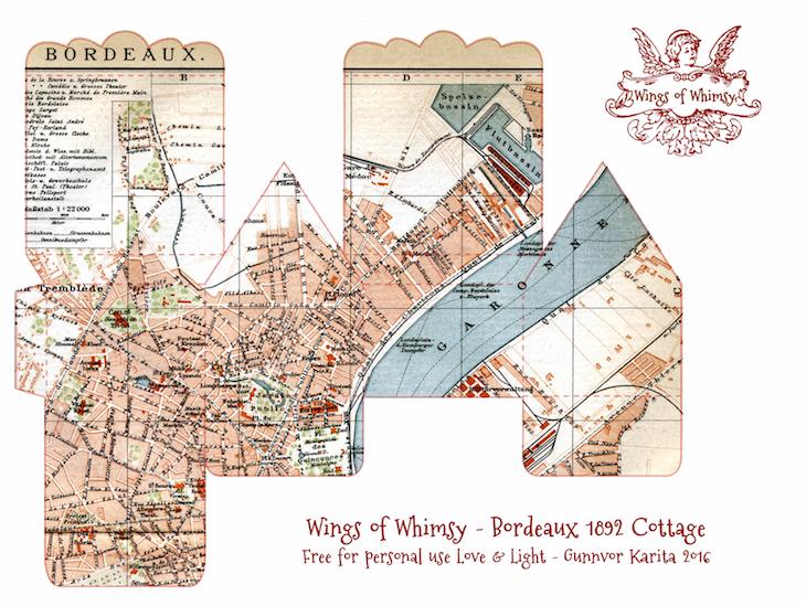 Wings of Whimsy: Map Cottage No 4: Bordeaux 1892 #vintage #freebie #printable #ephemera #map #bordeaux