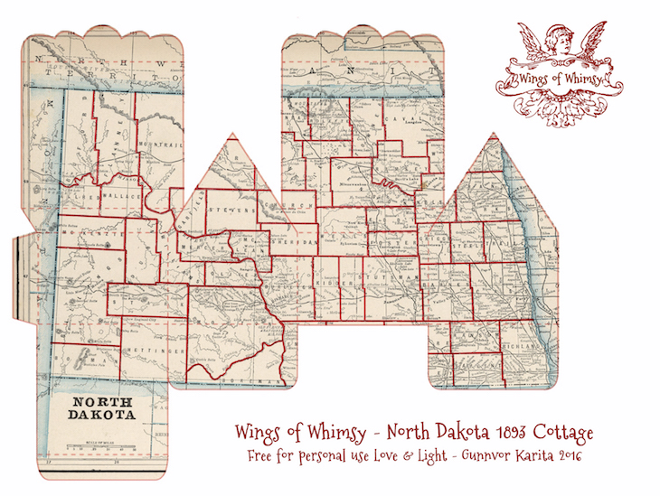 Wings of Whimsy: Map Cottage No 2: North Dakota 1883 #vintage #freebie #printable #ephemera #map #north #dakota