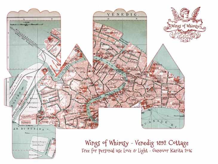Wings of Whimsy: Map Cottage No 1: Venedig 1892 #vintage #freebie #printable #ephemera #map #venedig #venezia #venice