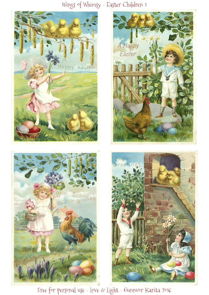 Wings of Whimsy: Easter Children 1 #freebie #vintage #ephemera #postcard #easter #children