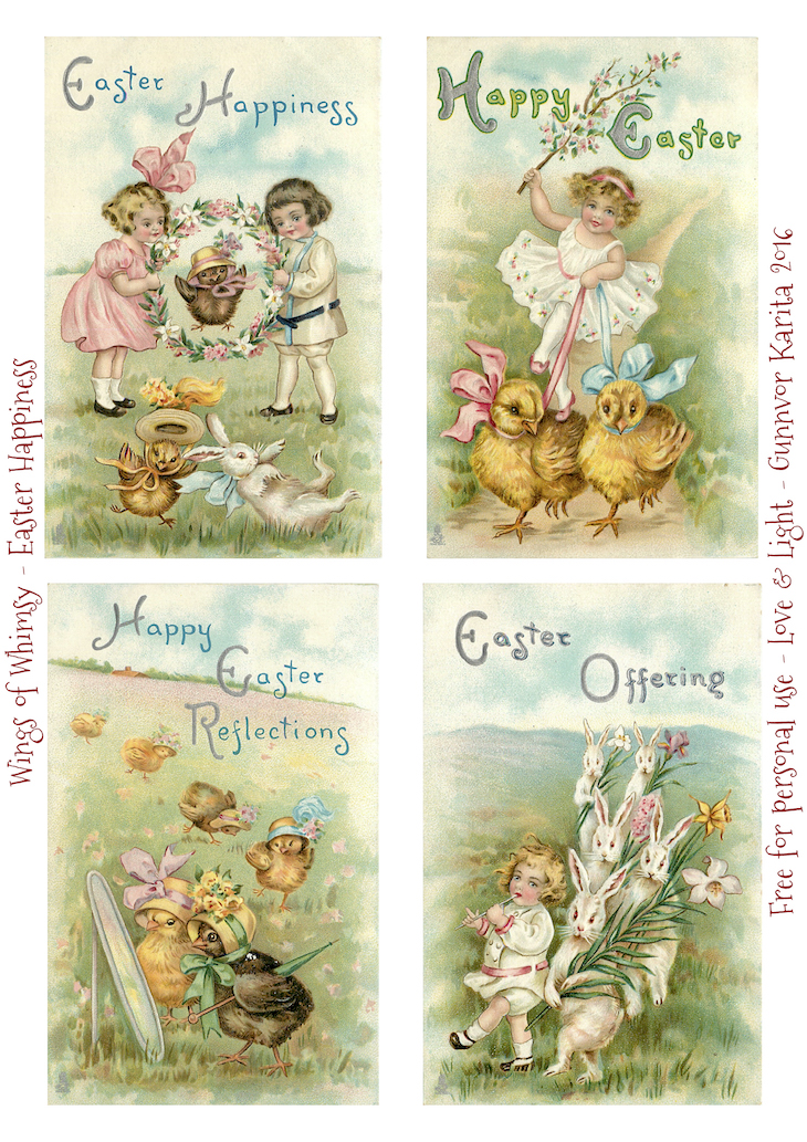 Wings of Whimsy: Easter Happiness #freebie #vintage #ephemera #postcard #easter #children #chicks