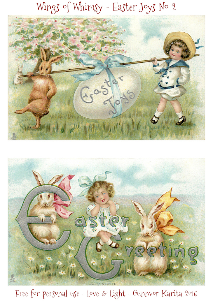 Wings of Whimsy: Easter Joy #freebie #vintage #ephemera #postcard #easter #children #chicks