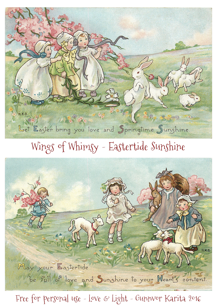 Wings of Whimsy: Eastertide Sunshine #freebie #vintage #ephemera #postcard #easter #children #bunny