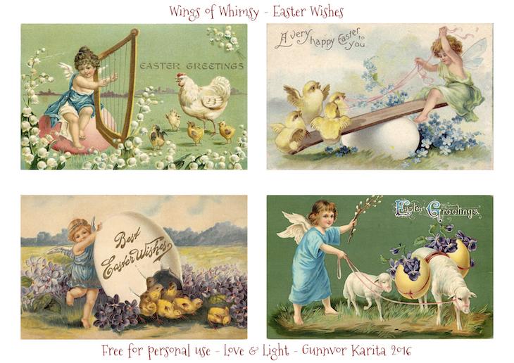 Wings of Whimsy: Easter Wishes #vintage #ephemera #printable #freebie #easter #chicks #cherub