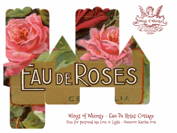 Wings of Whimsy: Perfume Cottage No 3: Eau De Roses #vintage #freebie #printable #ephemera #perfume #label #rose