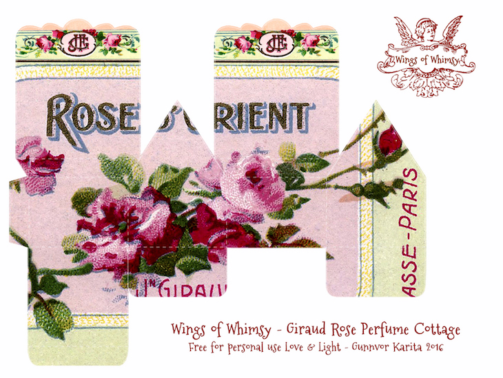 Wings of Whimsy: Perfume Cottage No 5: Giraud Rose #vintage #freebie #printable #ephemera #perfume #label #rose