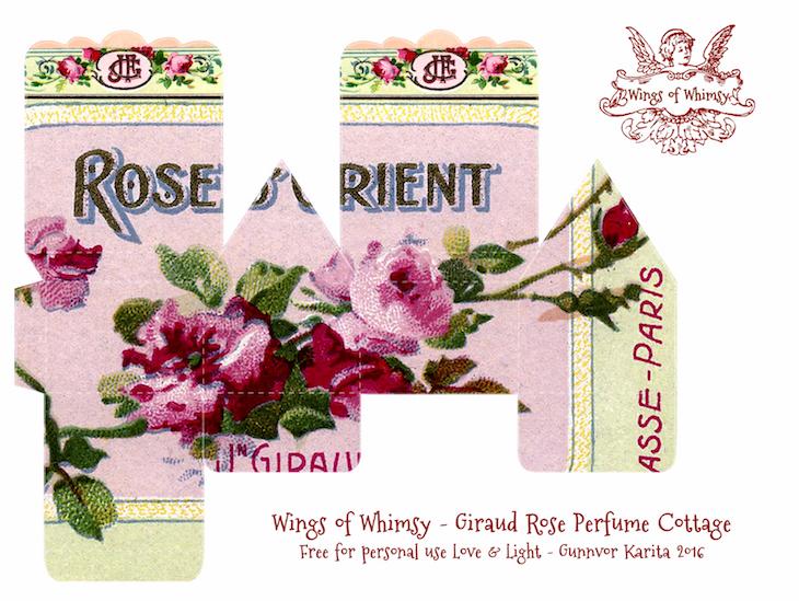 Wings of Whimsy: Perfume Cottage No 5: Giraud Rose #vintage #freebie #printable #ephemera #perfume #label #rose