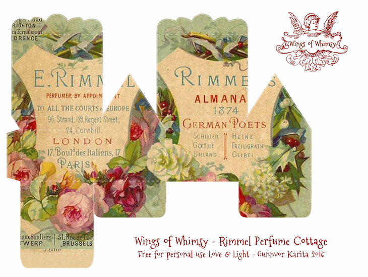 Wings of Whimsy: Perfume Cottage No 3: Rimmel #vintage #freebie #printable #ephemera #perfume #label #rose