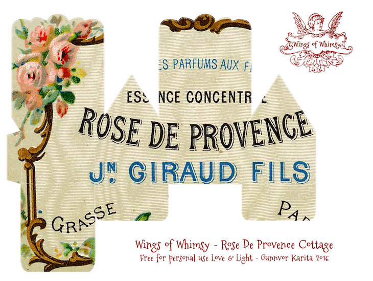 Wings of Whimsy: Perfume Cottage No 7: Rose De Provence #vintage #freebie #printable #ephemera #perfume #label #rose