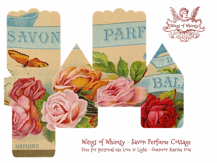 Wings of Whimsy: Perfume Cottage No 1: Savon Perfume #vintage #freebie #printable #ephemera #perfume #label #rose