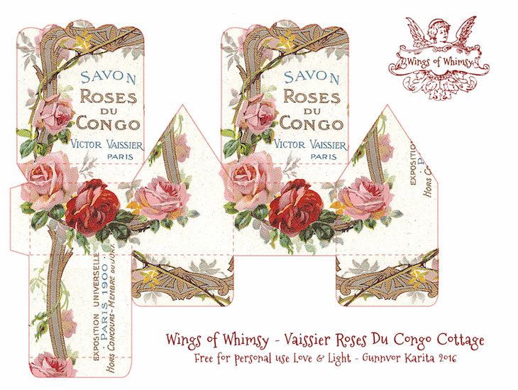 Wings of Whimsy: Perfume Cottage No 6: Vaissier Roses Du Congo #vintage #freebie #printable #ephemera #perfume #label #rose