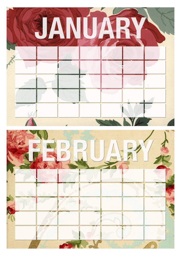 Wings of Whimsy: Vintage Wallpaper Monthly Erasable Calendars #freebie #ephemera #vintage #printable #wallpaper #calendar