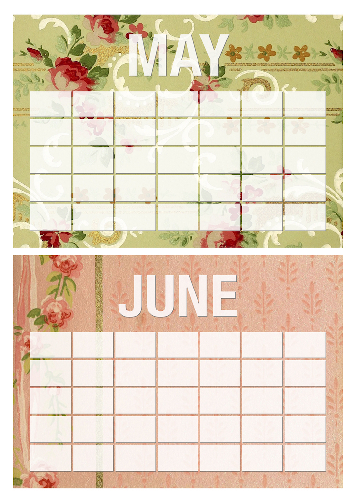 Vintage Rose Wallpaper Erasable Monthly Calendars | Wings ...