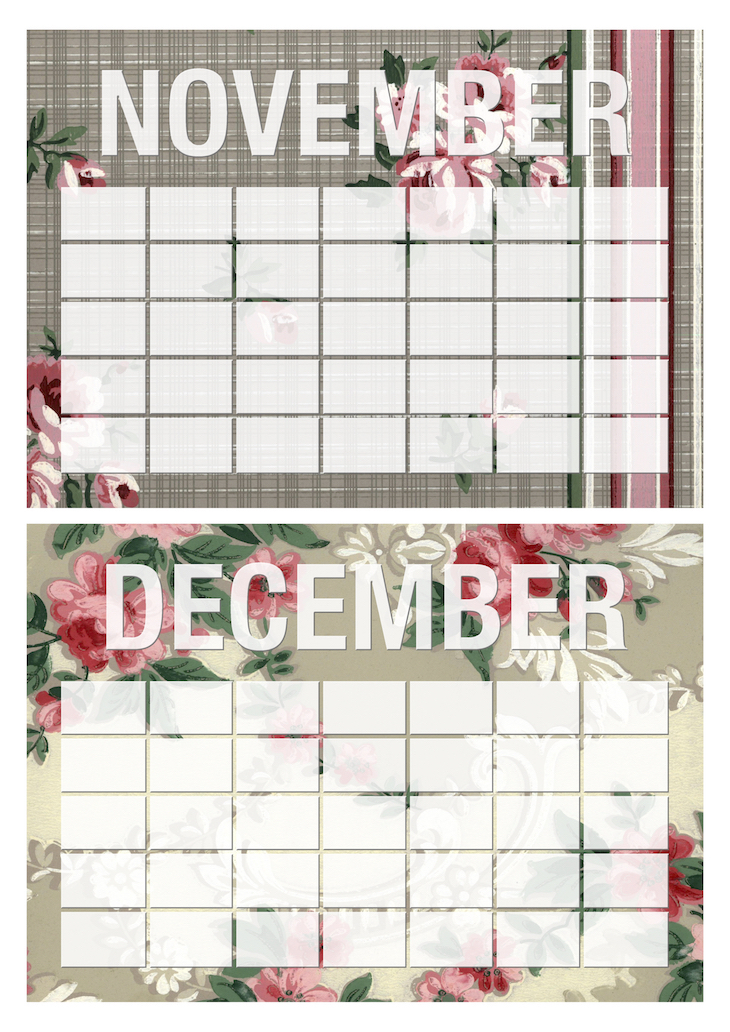 Vintage Rose Wallpaper Erasable Monthly Calendars Wings