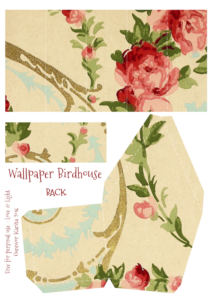 Wings of Whimsy: Wallpaper Birdhouse No 1 Front #vintage #ephemera #freebie #printable #wallpaper #bird #house
