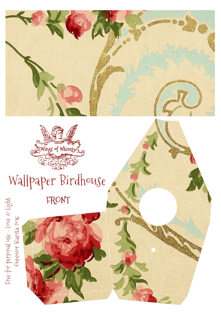 Wings of Whimsy: Wallpaper Birdhouse No 1 Back #vintage #ephemera #freebie #printable #wallpaper #bird #house