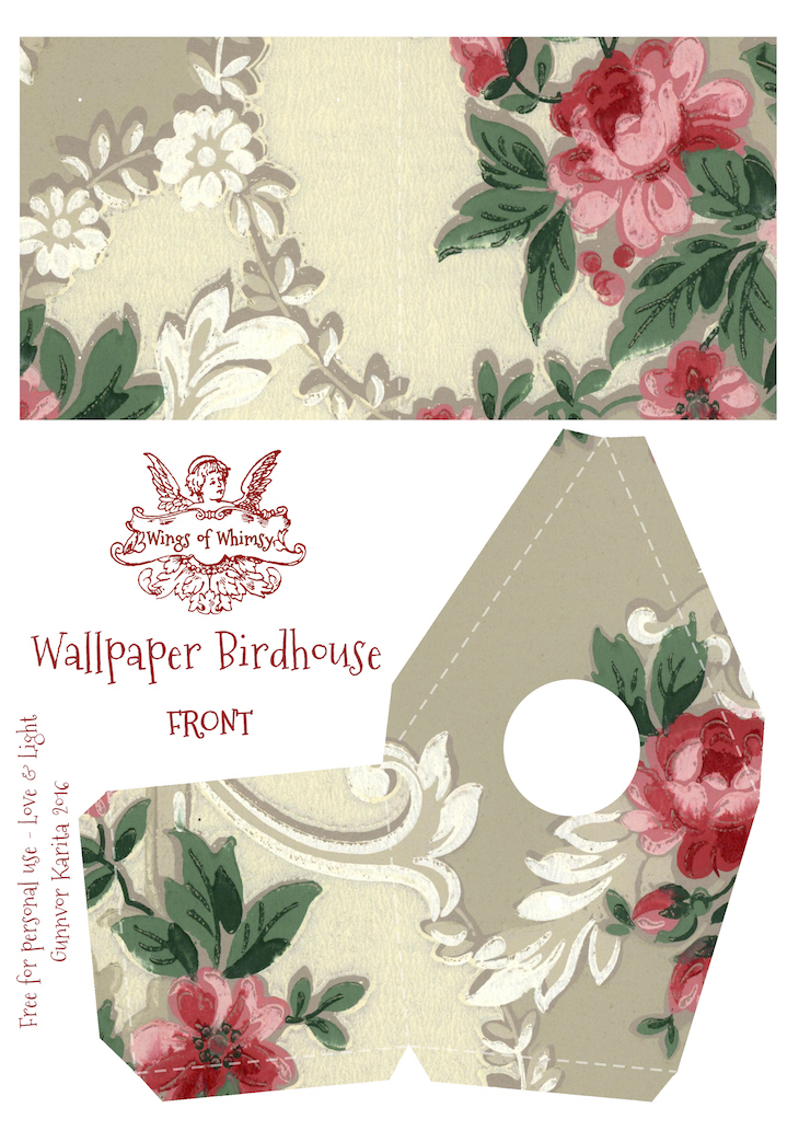 Wings of Whimsy: Wallpaper Birdhouse No 2 Front #vintage #ephemera #freebie #printable #wallpaper #bird #house