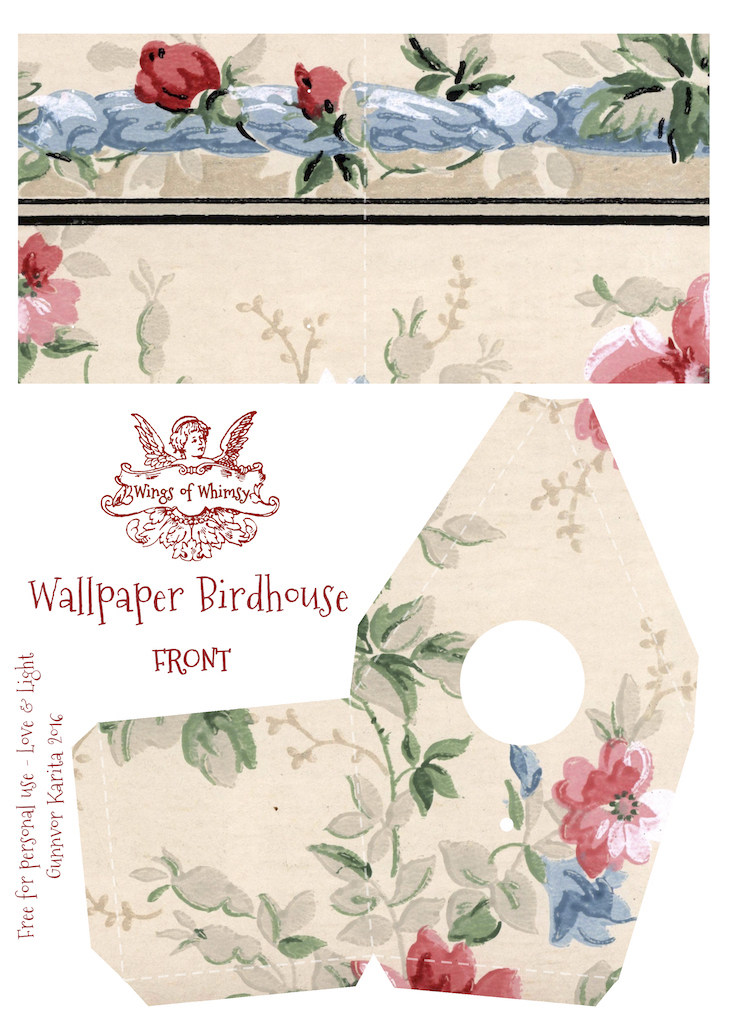 Wings of Whimsy: Wallpaper Birdhouse No 3 Front #vintage #ephemera #freebie #printable #wallpaper #bird #house