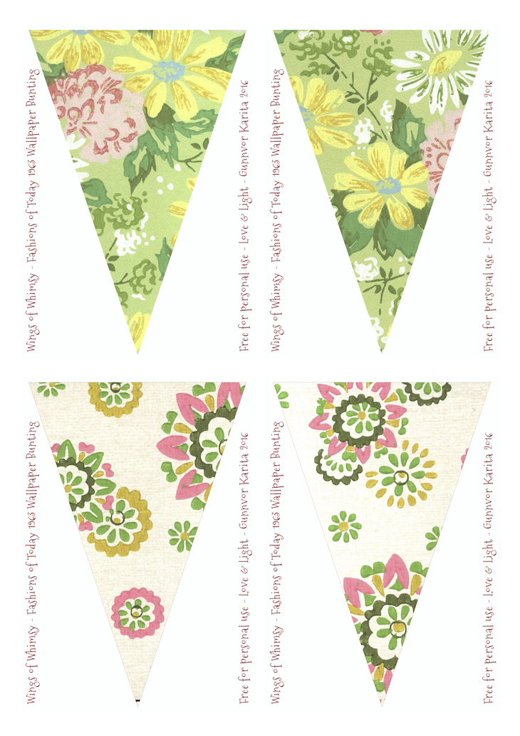 Wings of Whimsy: Fashions of Today Vintage Wallpaper Flags #vintage #ephemera #freebie #printable #wallpaper #flag #bunting
