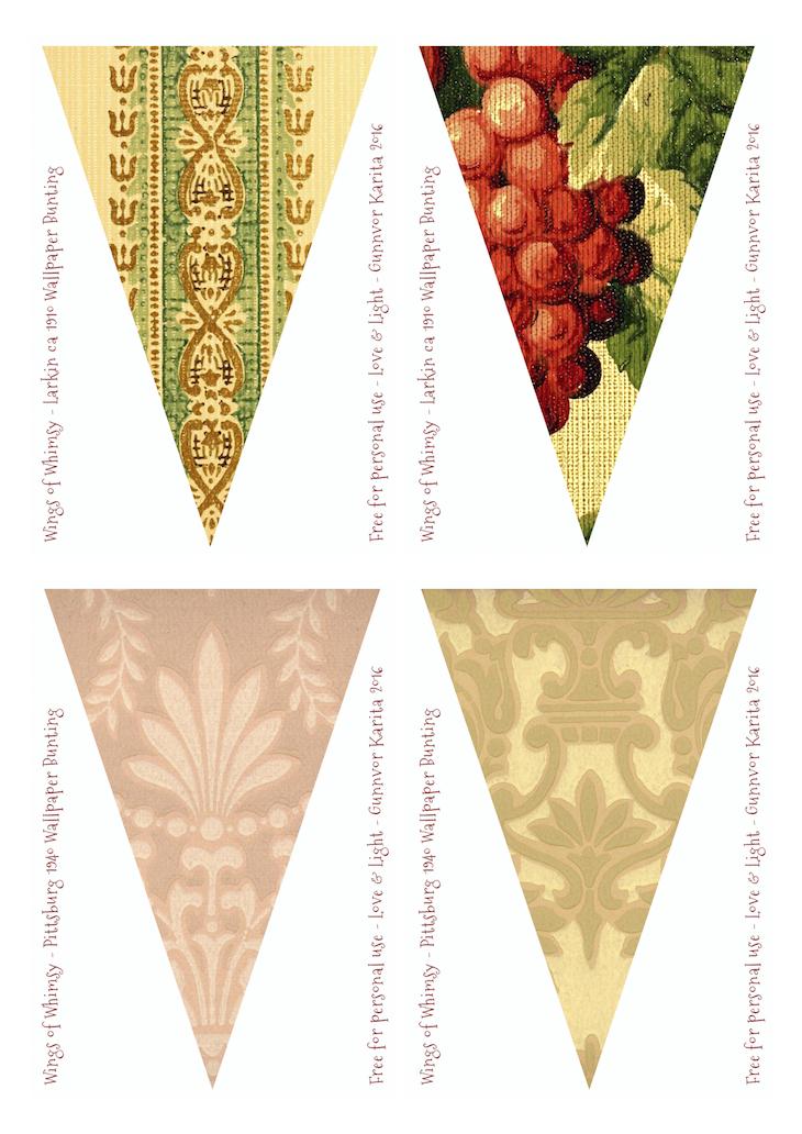 Wings of Whimsy: Larkin & Pittsburg Vintage Wallpaper Flags #vintage #ephemera #freebie #printable #wallpaper #flag #bunting