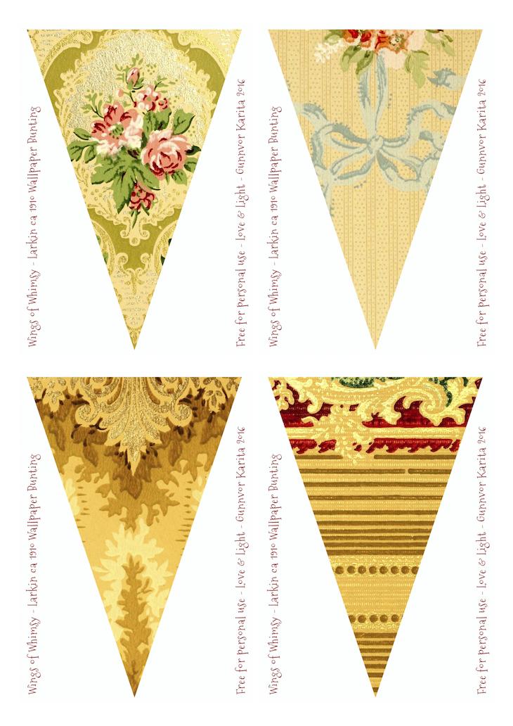 Wings of Whimsy: Larkin Vintage Wallpaper Flags #vintage #ephemera #freebie #printable #wallpaper #flag #bunting