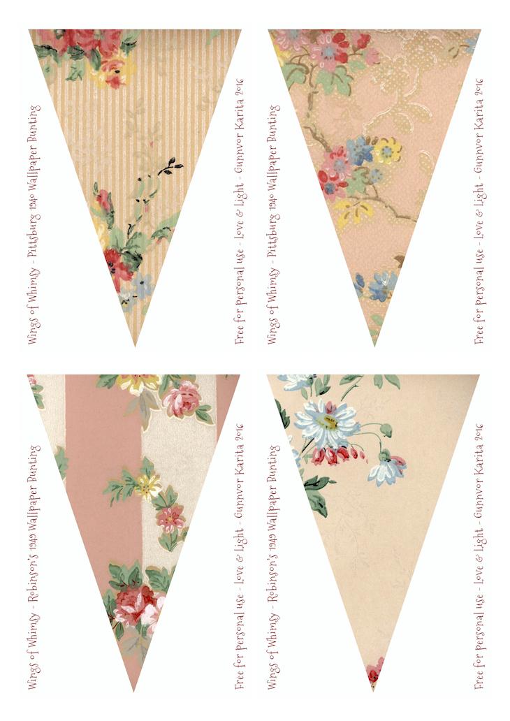 Wings of Whimsy: Pittsburg & Robinson Vintage Wallpaper Flags #vintage #ephemera #freebie #printable #wallpaper #flag #bunting