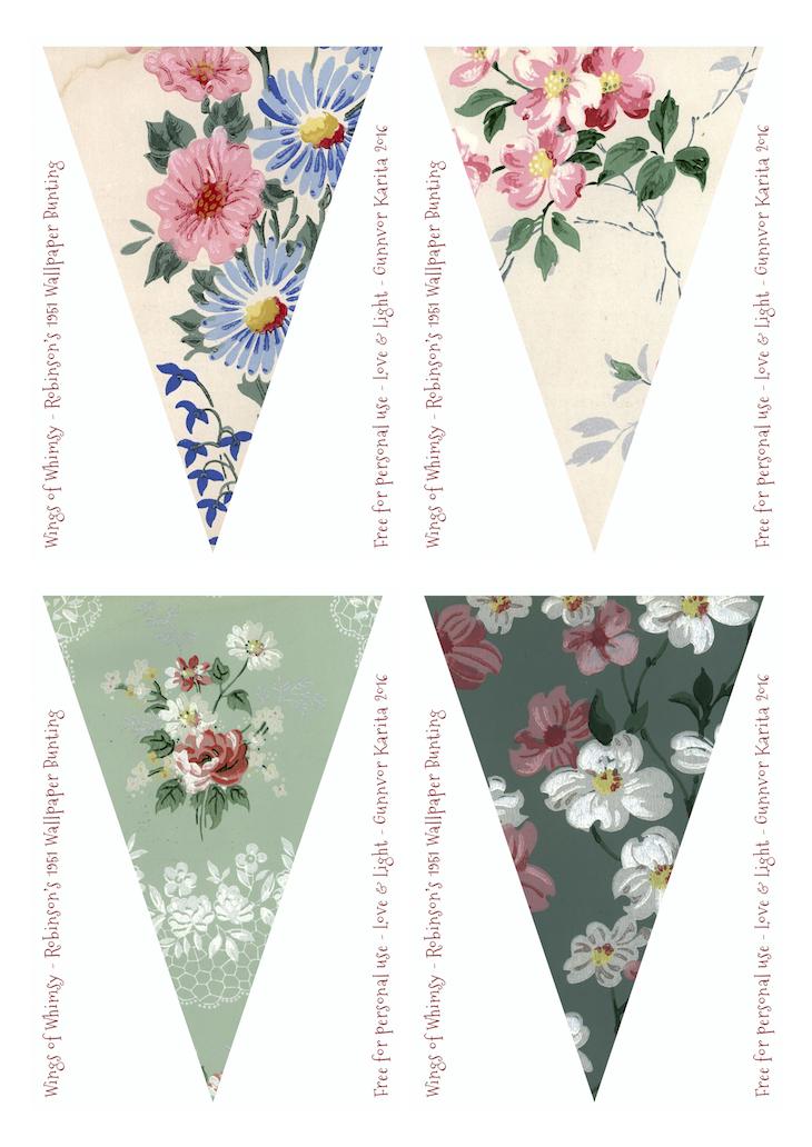Wings of Whimsy: Robinson Vintage Wallpaper Flags #vintage #ephemera #freebie #printable #wallpaper #flag #bunting