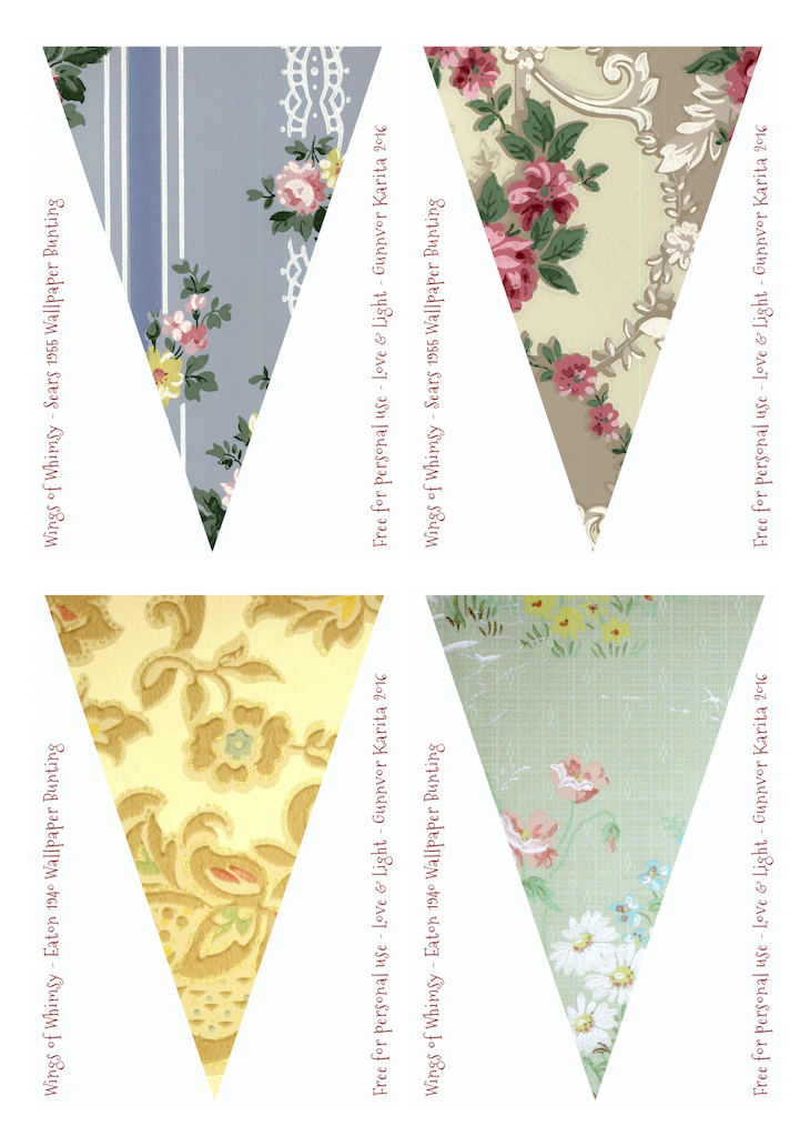 Wings of Whimsy: Sears & Eaton Vintage Wallpaper Flags #vintage #ephemera #freebie #printable #wallpaper #flag #bunting