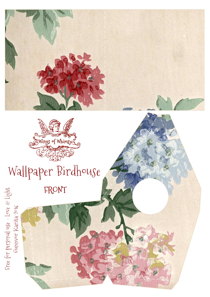 Wings of Whimsy: Wallpaper Birdhouse No 10 Front #vintage #ephemera #freebie #printable #wallpaper #bird #house