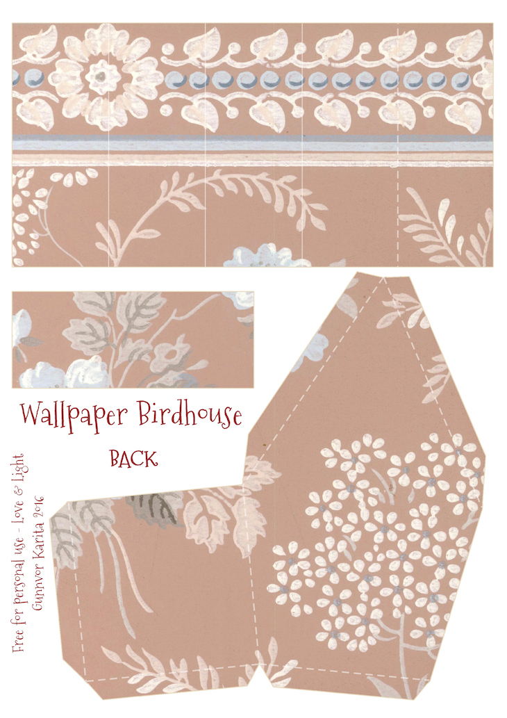 Wings of Whimsy: Wallpaper Birdhouse No 11 Back #vintage #ephemera #freebie #printable #wallpaper #bird #house
