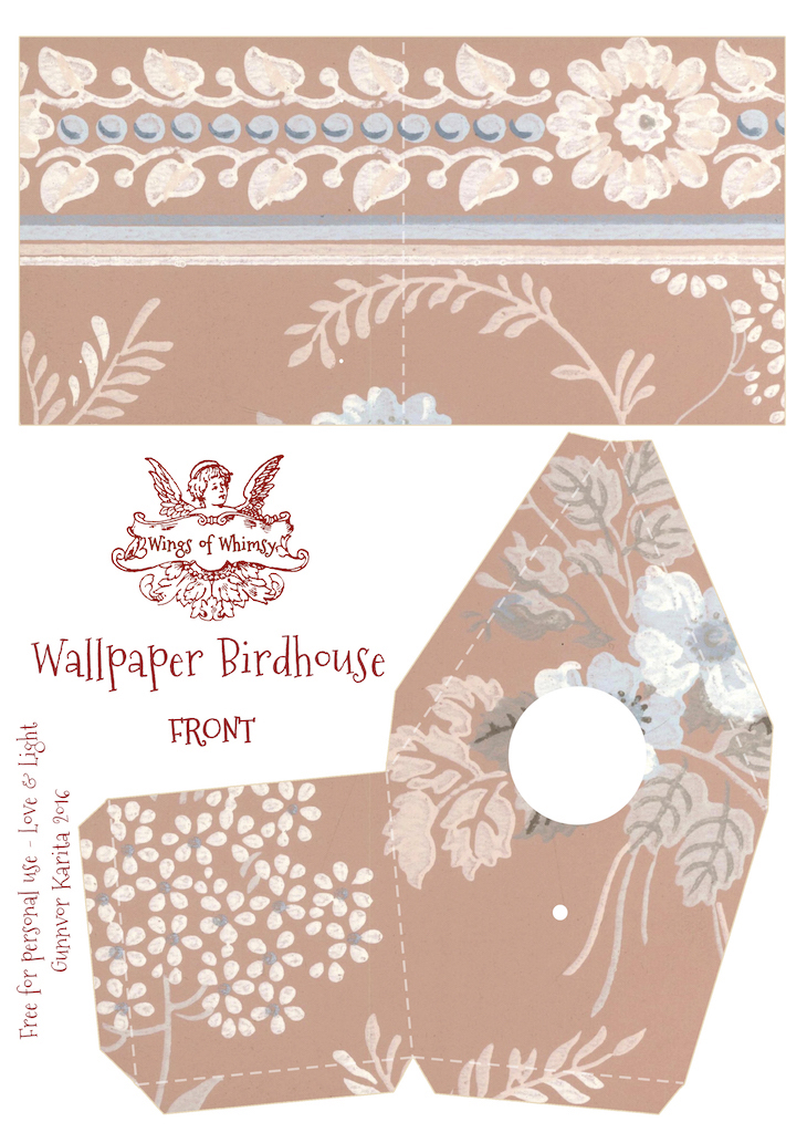 Wings of Whimsy: Wallpaper Birdhouse No 11 Front #vintage #ephemera #freebie #printable #wallpaper #bird #house